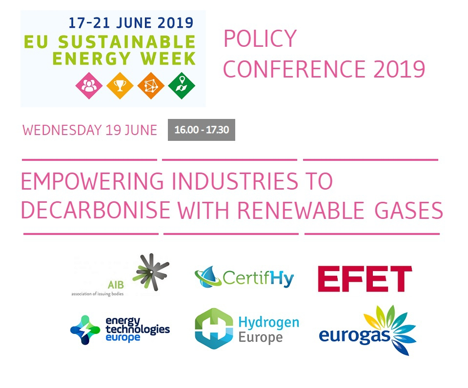 Image about EUSEW - 'Empowering industries to decarbonise with renewable gases' and logo of contributors